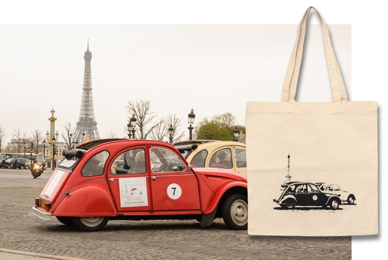 Paris Cars Tote Bag
