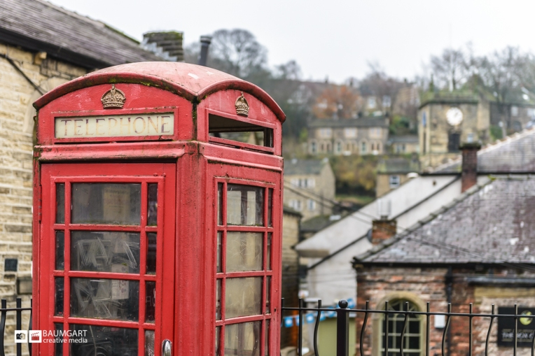 Red Phone Booth Yorkshire England by Jeff Baumgart